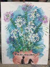Original Watercolor Painting Flowers Vase Still Life Colorful Signed