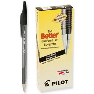 35011 Pilot The Better Stick Ballpoint Pen, Black Ink, Fine 0.7mm, Pack of 12