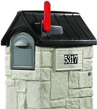 Mailbox 53-3/8 in. Plastic Post Mount Medium with Outgoing Mail Indicator Gray