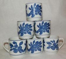Set of 6 Coffee-Tea Mugs Cups White with Blue Flowers Floral IDG China 8 oz.