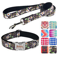 Personalized Dog Collar Leash Set Free Engraved Name Adjustable Nylon XS-L Pet