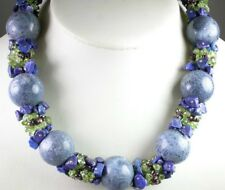 Statement Blue Coral Necklace with Peridot Garnet  Lapis Wedding Mother of Bride