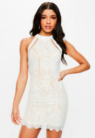 Missguided White Racer Neck Embroidered Lace Mini Dress Size 10