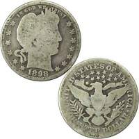 1898 Barber Quarter AG About Good 90% Silver 25c US Type Coin Collectible