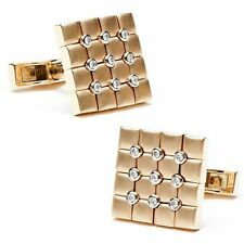 Square Shape Round White Stone 14k Yellow Gold Over Cuff Links Men's Jewelry