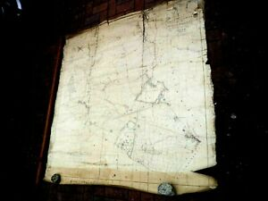 LARGE wall hanging art OLD ANTIQUE MAP south mimms HAND color 1842 TITHE BEDFONT