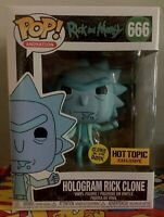 Funko Pop Hologram Rick Clone Hot Topic Glows In The Dark Exclusive 666 Limited