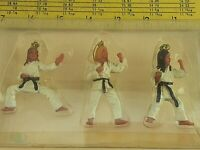 Vintage Lot of 3 Karate Girl Christmas Ornament Black Belt Martial Arts