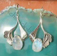Ohrring Lilie Blume mit Mondstein Sterling Silber 925 Stein des Juni