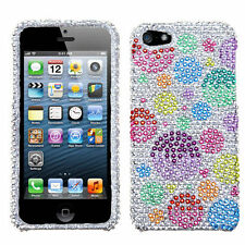 For iPhone 5 5S SE Crystal Diamond BLING Hard Case Phone Cover  Rainbow Bubbles
