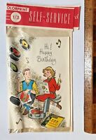 VINTAGE 1960S GIRL & BOY JAZZ LOVIN' TEENAGERS AUSSIE BIRTHDAY CARD UNUSED VGC!!