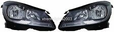 MERCEDES C CLASS 2012-2013 BLACK HEADLIGHTS HEAD LIGHTS FRONT LAMPS HALOGEN PAIR