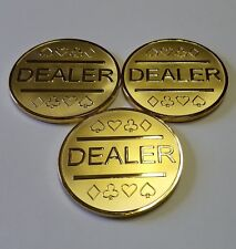 3x Gold Plated Metal Dealer Buttons for Poker Games such as Texas Hold'em