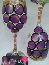2 Hand-Painted Grapevine Wine Glasses