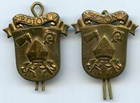Denmark Slaelland Home Guard Pair Insignia Collar Badge Region V