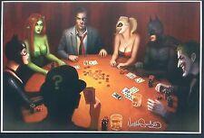 """NATHAN SZERDY BATMAN & ARKHAM VILLIANS POKER GAME ART PRINT SIGNED 12""""x18"""""""