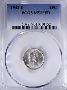 1942 D Mercury Dime PCGS MS66FB