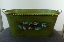 Holiday Seasonal Planter Gift Indoor Outdoor Pine Cones Metal Handles Green New