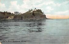 Rockland Maine scenic view of Owl's Head from water antique pc (Y9289)
