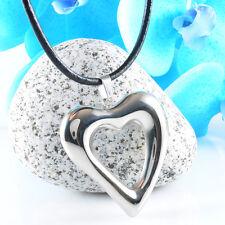 Edelstahl HERZ Liebe Kette Leder Halskette Farbe Silber Blogger Lederkette NEU