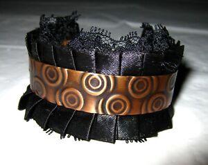 EVA SHERMAN DESIGNS Spiral Copper Cuff Handcrafted Bracelet Lace Black Fabric