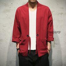 Men Japanese Yukata Coat Kimono Outwear Cotton Vintage Loose New Shirt Fashion