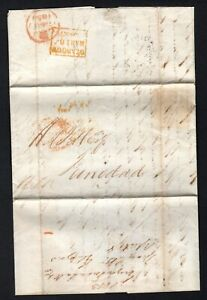 GB 1853 Entire Glasgow by packet to Trinidad cds, stamp missing