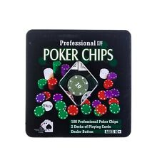 Professional Texas Hold'em Poker Set With 100 Chips in Storage Tin - Tin Damaged