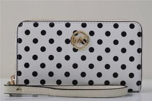 Michael Kors MK Jet Set Continental Zip-Around Leather Dot Wallet White W1001