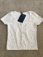 brandy melville cream/pink crop floral button up zelly top NWT XS/S