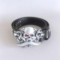 New Vintage Skull Belt Buckle With Black Studded Men Genuine Leather Belt