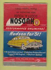 Matchbook Cover - Hudson Cars Scott Youse New Jerusalem PA WORN 40 Strike