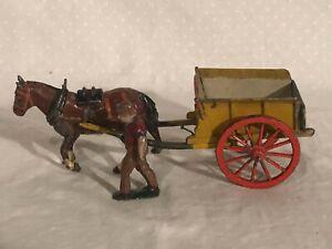 Britains Farm Wagon Horse Drawn Cart Lead Figures