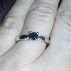 WOW 100% Genuine 1/2ct Black Diamond Sterling Silver Ring L - M / 6