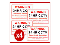 CCTV SECURITY CAMERA - SECURITY CAMERA WARNING SIGNS - PACK OF 4 SIGNS