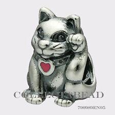 Authentic Pandora Sterling Silver Waving Cat Enamel Heart Bead 790989EN05