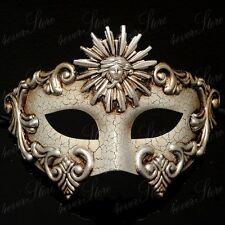 Men Greek Masquerade Mask - Roman Sun Warrior Venetian Masquerade Mask - Silver