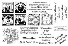 Unmounted Rubber Stamps Sheets, Christmas Sayings, Noel, Christian, Seasonal