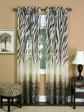 "safari animal window curtain panel - zebra ,leopard 84"" L black / brown - Kenya"