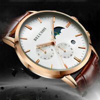 Men's Luxury Leather Band Ultra-thin Sun & Moon 2 Dial Analog Quartz Wrist Watch
