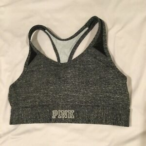 Victoria's Secret PINK Ultimate Lightly Lined Racerback Sports Bra Size L Gray