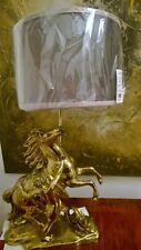 Tisch Lampe FEUERVERGOLDETE BRONZE Pferd mit Reiter ANTIKE SZENE Paris Berlin