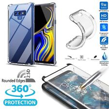 For Samsung Galaxy Note 9/8 Clear Soft TPU Case+Tempered Glass Screen Protector