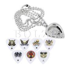 Zinc Alloy Silver Heart Shape Guitar Pick Pendant Holder Necklace BQLZR