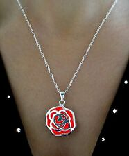 Red Silver Rose Glowing Jewelry Glow in the Dark Pendant Necklace