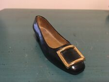 Just the Right Shoe Patently Perfect Shoe Miniature Figurine Black Gold Buckle