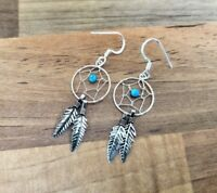 925 Sterling Silver - Dreamcatcher Earrings With Gemstones - Shiny or Oxidised