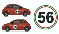 Pair Of 500mm MSA Spec Door Rally & Race Car Numbers Decals, Italy Flag Colours