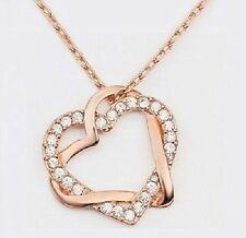 Womens 9k Rose Gold Filled AAA CZ Heart Necklace & Pendant  with Gift Box