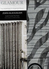 1 PAIR GLAMOUR HOME CAPRICE ZEBRA BLACK/SILVER EYELET CURTAINS 2 X 140CM X 223CM